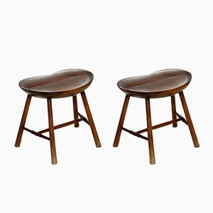 Antique Secessionist Wooden Stools by Adolf Loos, 1900s, Set of 2