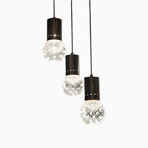 Lámpara colgante Mid-Century con tres luces de vidrio con burbujas de Seguso