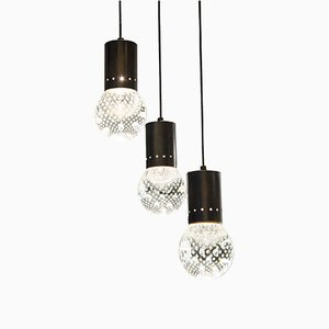 Mid-Century 3-Light Bubble Glass Pendant from Seguso