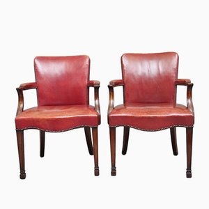 19th-Century Mahogany Library Armchairs, Set of 2