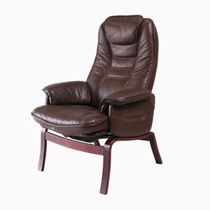 Mid-Century Danish Leather Reclining Lounge Chair, 1960s