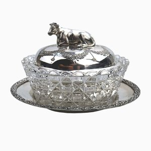 Antique Silver Plated Butter Dish by Atkin Brothers, 1880s