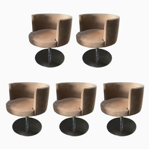 Mid-Century Italian Alcantara & Chrome Swivel Chairs, 1970s, Set of 5