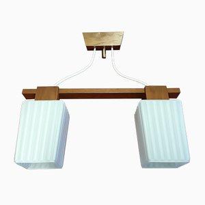 Lámpara de techo danesa Mid-Century de teca de dos luces