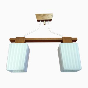 Mid-Century Danish Teak Two-Light Ceiling Lamp