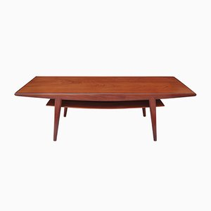 Long Danish Teak Coffee Table with Shelf, 1960s