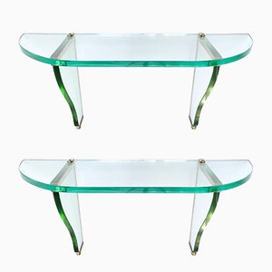 Vintage Italian Wall-Mounted Console Tables by Pietro Chiesa for Fontana Arte, Set of 2