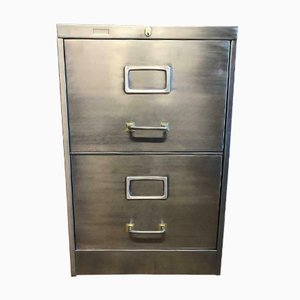 Vintage Industrial Stripped Metal Filing Cabinet from Roneo, 1961