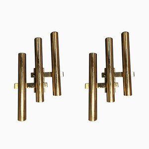Brass Tube Sconces by Gaetano Sciolari, 1970s, Set of 2