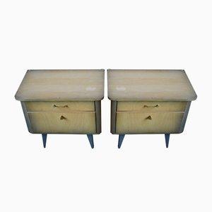 Mesas de noche vintage con patas de compás. Juego de 2