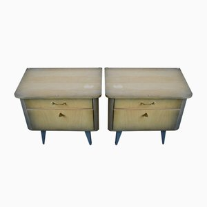 Vintage Bedside Tables with Compass Legs, Set of 2