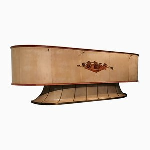 Italienisches Mid-Century Sideboard aus Pergament mit Intarsien von Vittorio Dassi, 1949