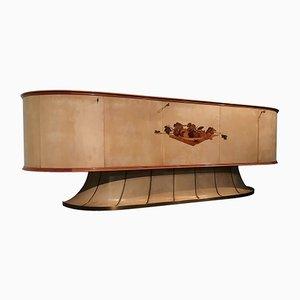 Italienisches Mid-Century Sideboard aus Pergament mit Intarsien von Vittorio Dassi, 1955