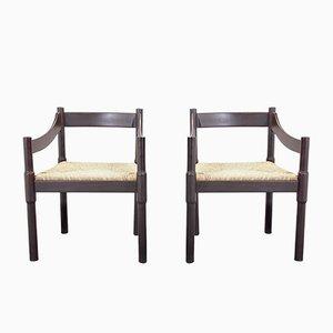 Vintage Carimate Stühle von Vico Magistretti für Cassina, 2er Set