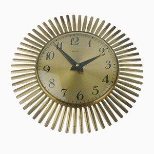 Horloge Murale Soleil en Laiton de Mauthe, 1950s
