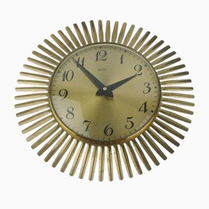Sunburst Brass Wall Clock from Mauthe, 1950s