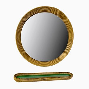 Vintage Rattan Mirror with Tablet