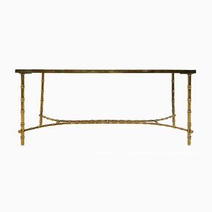 Vintage Brass Faux Bamboo Coffee Table, 1970s