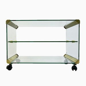 Glass Serving Trolley from Gallotti & Radice, 1980s