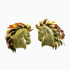Applique a testa di cavallo di Isabelle Masson per Faure, anni '70, set di 2