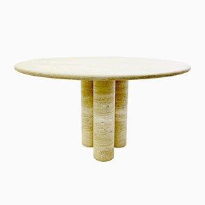 Mesa de comedor redonda de travertino de Mario Bellini, años 70