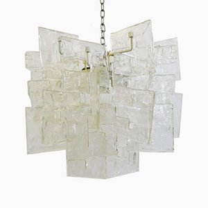 Murano Ice Glass Chandelier by Carlo Nason for Mazzega, 1960s