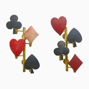 Hearts, Diamonds, Clubs, Spades Wall Lights, 1970s, Set of 2