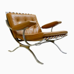 Caramel Brown Leather Armchair, 1970s