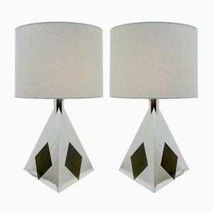 Lampade da tavolo vintage piramidali in metallo cromato di Willy Rizzo, set di 2