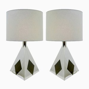 Vintage Chrome Pyramid Table Lamps by Willy Rizzo, Set of 2