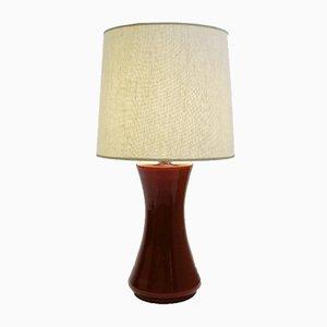 Dunkelrote italienische Tischlampe aus Muranoglas, 1970er