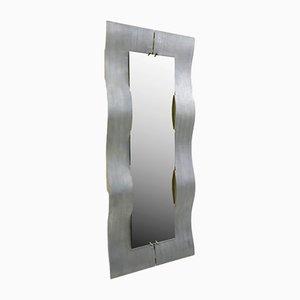 Espejo de cuerpo entero Wave de aluminio grabado de Lorenzo Burchiellaro, 1970