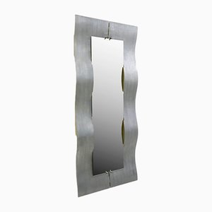 Etched Aluminum Wave Mirror by Lorenzo Burchiellaro, 1970s