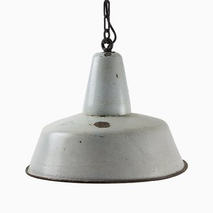 Vintage Grey Enamel Factory Pendant Light from KWE