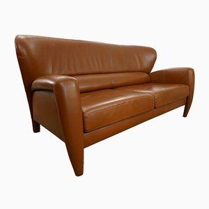 Jaguar Embossed Cognac Leather Couch, 1970s