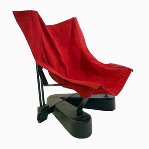 Red Suede Lounge Chair with Metal Base, 1980s