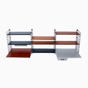 Modulares Regalsystem mit Schreibtisch aus Teak & Metall von A. D. Dekker für Tomado, 1950er