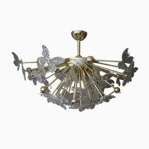 Lámpara de araña medio Sputnik con mariposas de cristal de Murano, años 80