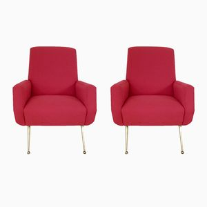 Italienische Mid-Century Sessel in leuchtendem Rot, 2er Set