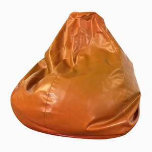 Vintage Pear-Shaped Imitation Leather Pouf, 1970s