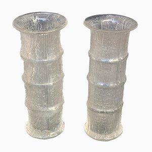 Vases en Verre Texturé en Forme de Bambou par Timo Sarpaneva pour Iittala, 1960s, Set de 2