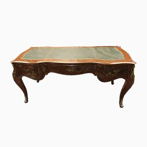 19th-Century French Veneer & Leather Desk