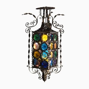 19th-Century Venetian Wrought Iron Lantern with Multicolored Stained Glass Disks