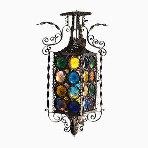 Lanterne Vénitienne 19ème Siècle en Fer Forgé avec Disques en Verre Teintés Multicolores