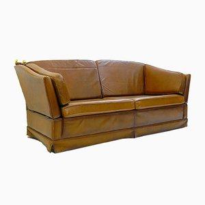 Sofá de cuero coñac, años 70