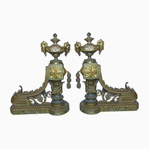 Art Nouveau Fireplace Brass Ornaments, Set of 2