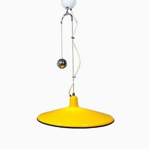 Lámpara colgante regulable amarilla de Harvey Guzzini, años 60