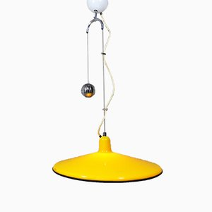 Yellow Adjustable Hanging Lamp from Harvey Guzzini, 1960s