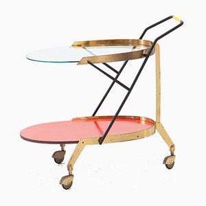 Italian Modern Glass & Brass Bar Cart, 1950s