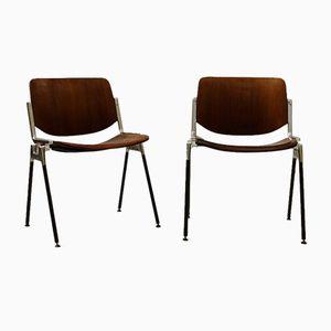 Chaises en Bois & en Métal par Giancarlo Piretti pour Castelli, 1970s, Set de 2